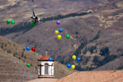 Balloons released during a parade in Cusco, Peru