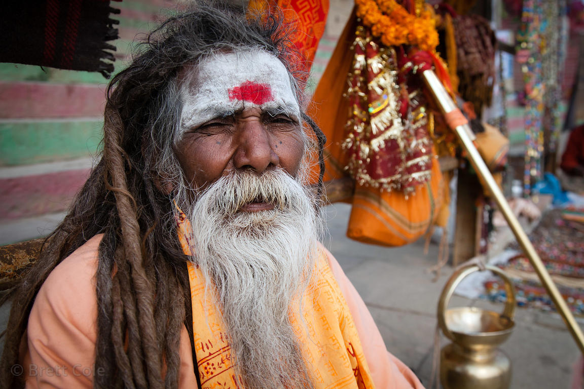 Sadhu (holy man) near Dashashwamedh Ghat, Varanasi, India.