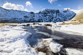 A frozen Red Tarn with Striding Edge, Helvellyn and Swirral Edge in the distance.