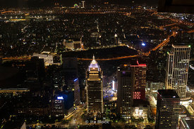 A night view of the Farglory Financial Center as seen from Taipei 101 Tower in Taipei, Taiwan