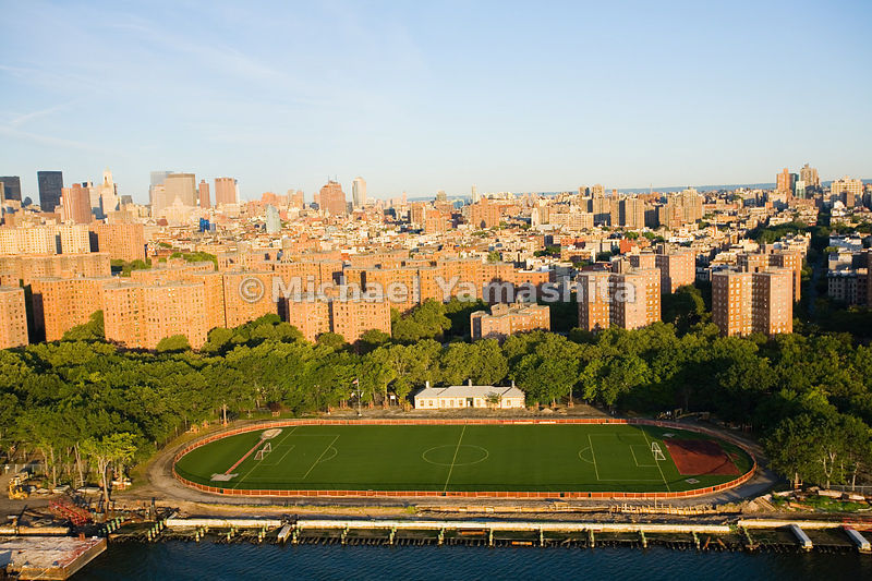 An aerial view of a soccer field in East River Park.  Manhattan, New York City.