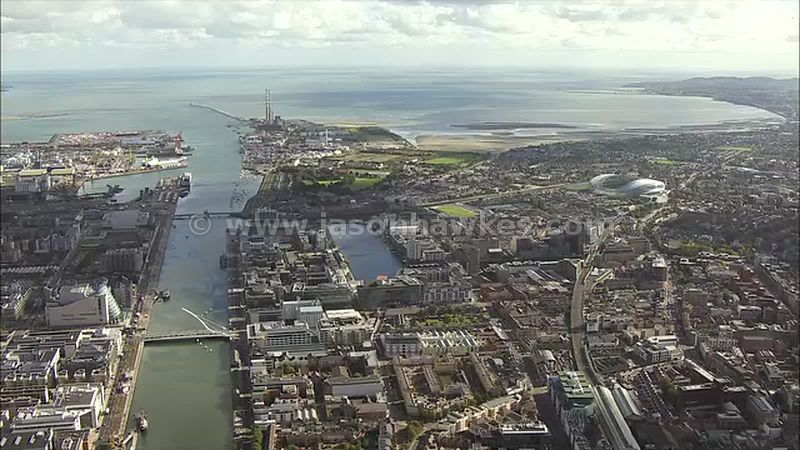 Aerial footage of Dublin Docklands, Ireland