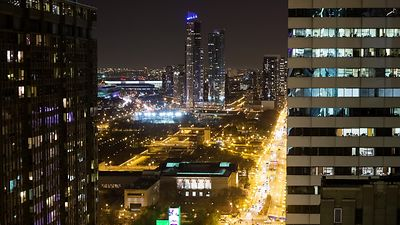Bird's Eye: Close Up Looking South Michigan Ave. Over the Lights of Grant Park