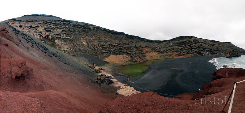 El Golfo is a volcanic crater eroded on one side by the sea