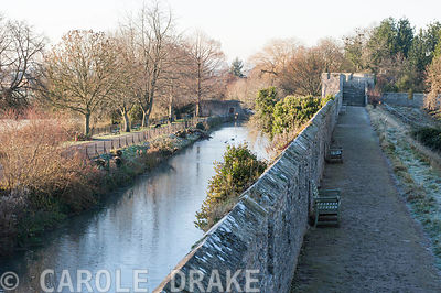The rampart walk in the Bishop's Palace garden in Wells, giving views over the surrounding moat and adjoining countryside
