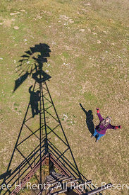 Karen Rentz and Windmill Shadow in the Nebraska Sandhills