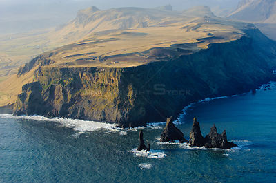 Aerial view of Dyrholaey and Reynisdrangar, near Vik, in South Iceland, April 2010