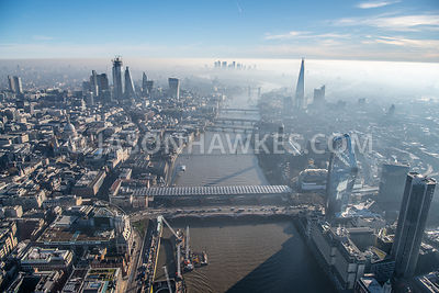 Aerial view of London, River Thames, Blackfriars Bridge, One Blackfriars, City of London at dawn.