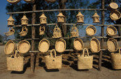 Roadside store with handmade baskets and other souvenirs for sale,  lake Malawi, Malawi