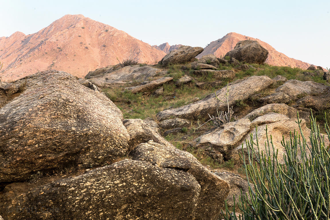 Beautiful rocky desert and late light on the Aravali Range, Ajaypal, Rajasthan, India