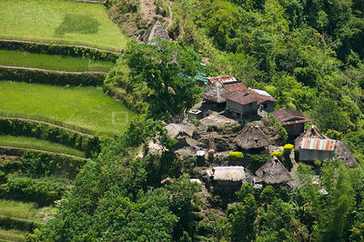 Aerial view of village in the Banaue Rice Terraces, Philippines.  UNESCO World Heritage Site 2008