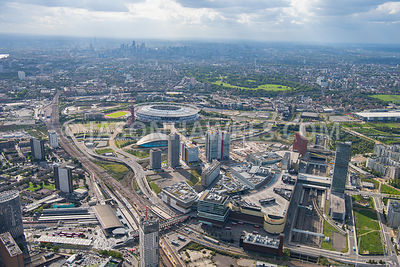 Aerial view of London, Westfield Stratford City, The International Quarter, Stratford, London.