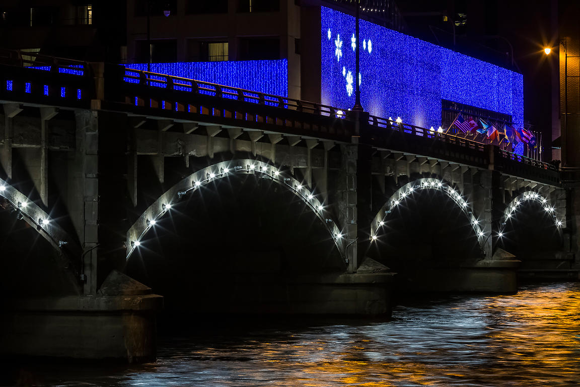 Pearl Street Bridge at Night in Grand Rapids