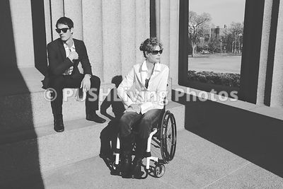 Portrait Of Man And Woman In Wheel Chair at Nashville's Parthenon