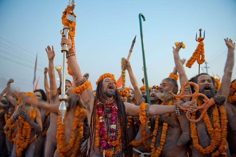 Saints celebrate during a procession in Allahabad during the Kumbh Mela