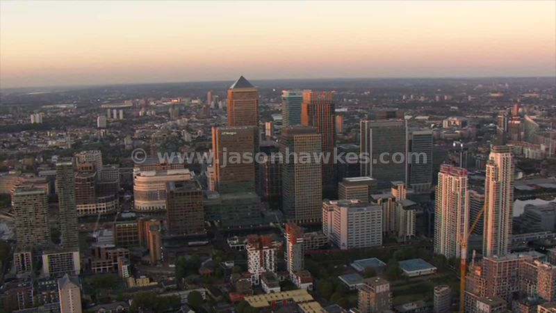 Aerial footage of Canary Wharf at sunset, London