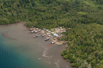 Aerial view of one of Raja Ampat's islands coastal villages. West Papua, Indonesia, February 2010