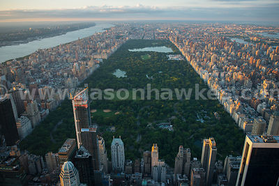 Aerial view of Central Park, a public park at the centre of Manhattan in New York City