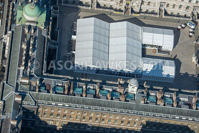 Aerial view of London Somerset House Fountain Court covered