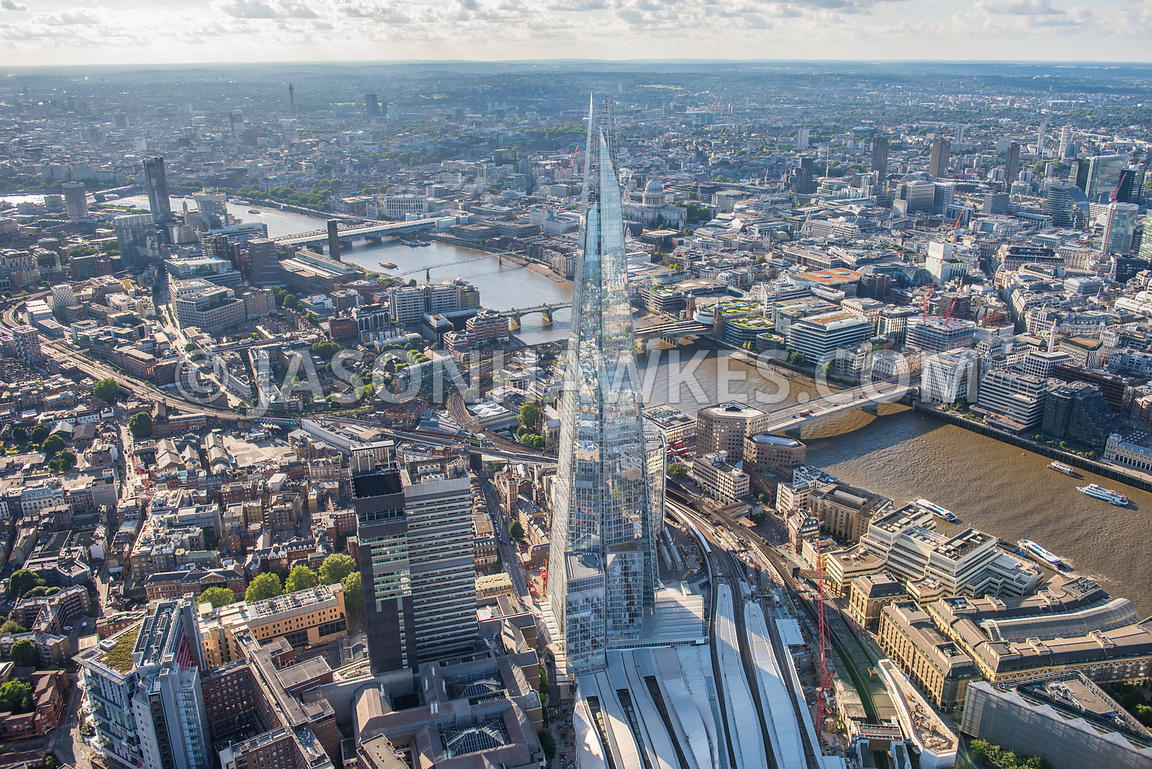 Aerial view, Shard, London Bridge, London, London Bridge station, Guy's Hospital, Guy's Campus, Kings College London, Southwa...