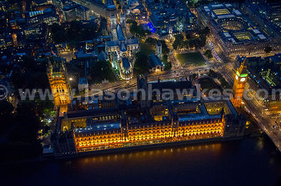 Aerial view of the Houses of Parliament at night, Westminster, London