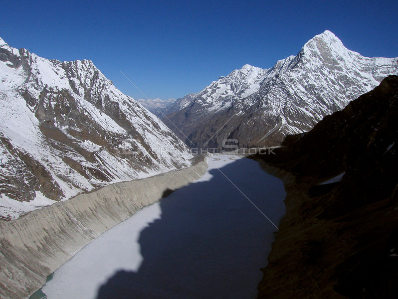 NEPAL Trakarding Glacier -- 16 Apr 2005 -- Aerial view of Tsho Rolpa - a glacial lake at the foot of the Trakarding Glacier