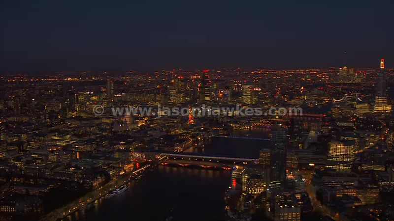 Aerial footage of the Thames at night, London