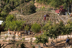 A bamboo structure under construction at Htet Eain Cave Monastic Education Schools near Nyaungshwe in Myanmar.