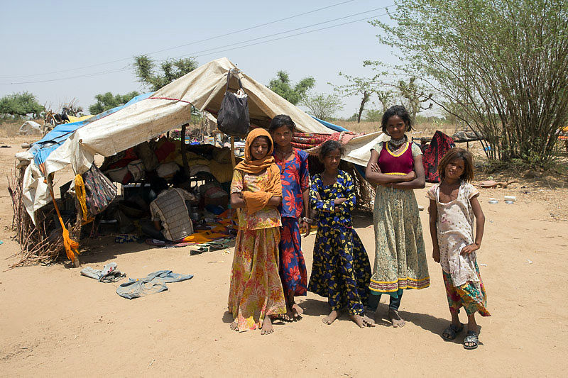 We work with families living in tent camps, in a harsh desert environment