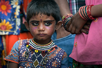 Hindu girl in makeup and finery, Pushkar, Rajasthan, India