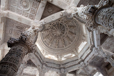 Interior detail of the famous Jain temple in Ranakpur, Rajasthan, India, home to some of the most impressive marble carving o...