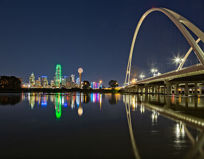 Margaret McDermott Bridge and Downtown Dallas