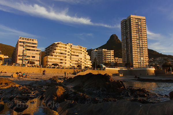 Condominums and hotels lining the beach in Seapoint, Cape Town, South Africa