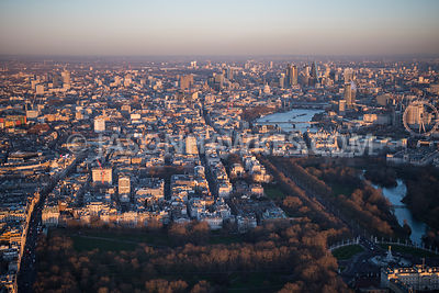 Aerial view of London, The Mall towards Whitehall with Green Park.