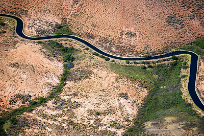 Aerial photograph of the Olifants River and the intensive irrigation / canal system used along its course, a threat to the en...