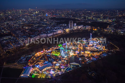 Aerial view of winter wonderland, Hyde Park, London