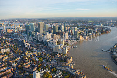 Aerial view of Canary Wharf, Isle of Dogs, London.