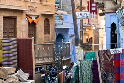 Cluttered signs inside of Jaisalmer fort, which has been severely compromised by tourism, Jaisalmer, Rajasthan, India