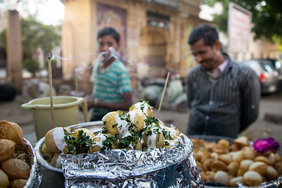Treats for sale at a market near the New Delhi railway station, Delhi, India