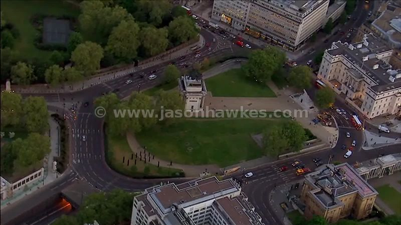 Aerial footage over Hyde Park Corner, Westminster, London, England, UK
