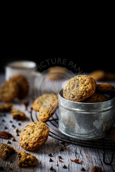 Homemade chocolate chip cookies with pecan