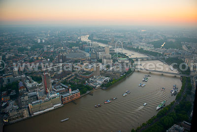 Aerial view of South Bank at dusk, London