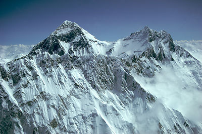 Aerial view of Mount Everest, Nuptse ridge in foreground, Himalayas, Nepal