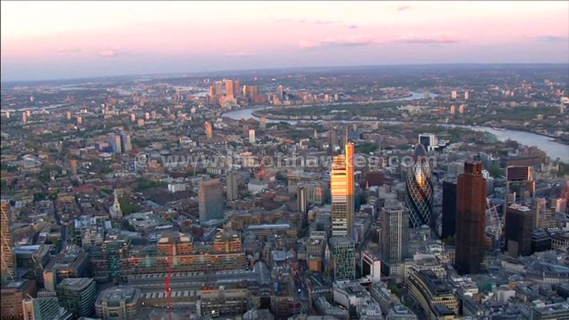 Aerial footage around the City of London, England, UK