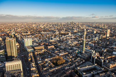 Aerial view of London, BT Tower towards City of London.