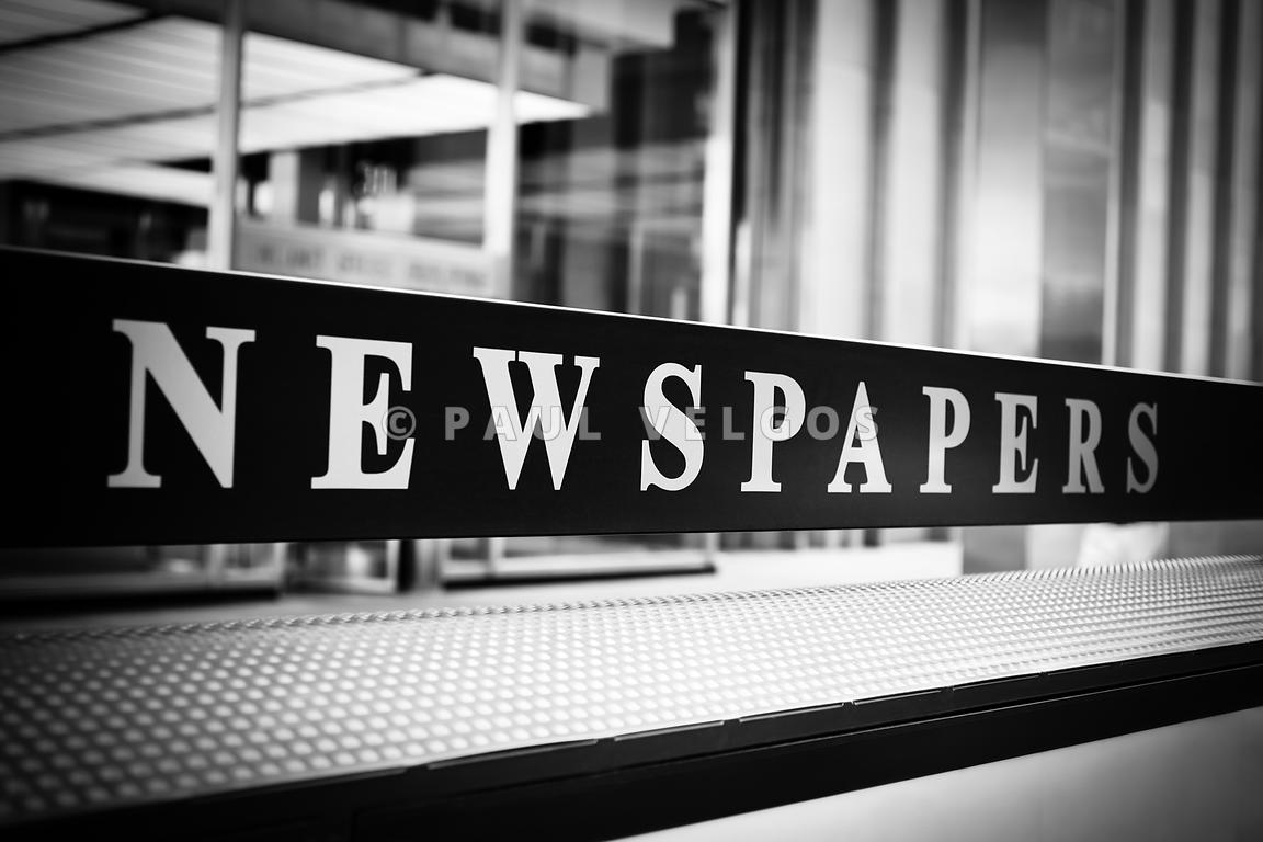 Chicago Newspapers Stand Sign in Black and White