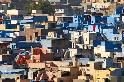 Sun-drenched cubist houses in Jodhpur, Rajasthan, India