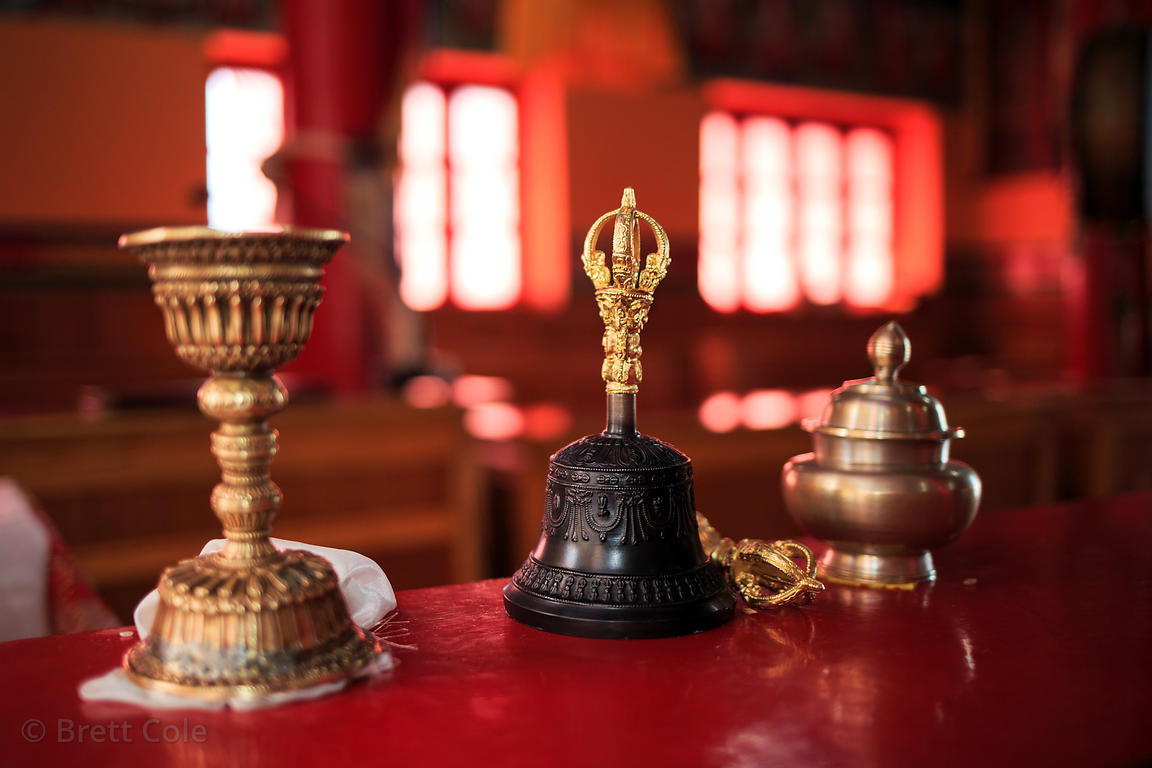 Buddhist prayer implements in Matho Gompa, Ladakh, India