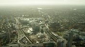 Aerial footage of White City, London. Westfield London, Former BBC Television Centre,  Shepherd's Bush.
