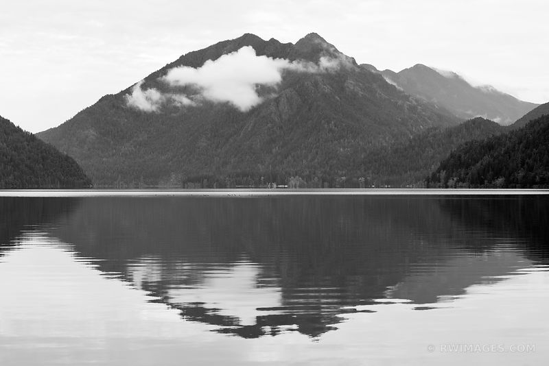 LAKE CRESCENT MOUNTAIN REFLECTION OLYMPIC NATIONAL PARK WASHINGTON BLACK AND WHITE